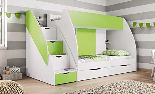 Litera, 2 colchones con cajones y almacenamiento, color verde