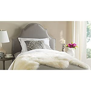 Safavieh Hallmar Arctic Grey Upholstered Arched Headboard - Silver Nailhead (Twin)