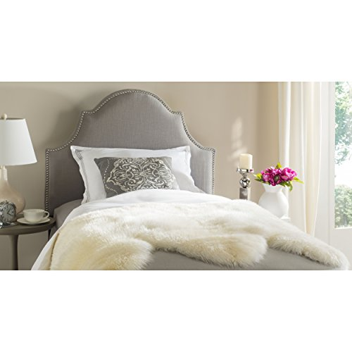 Safavieh Hallmar Arctic Grey Upholstered Arched Headboard - Silver Nailhead (Twin) ()