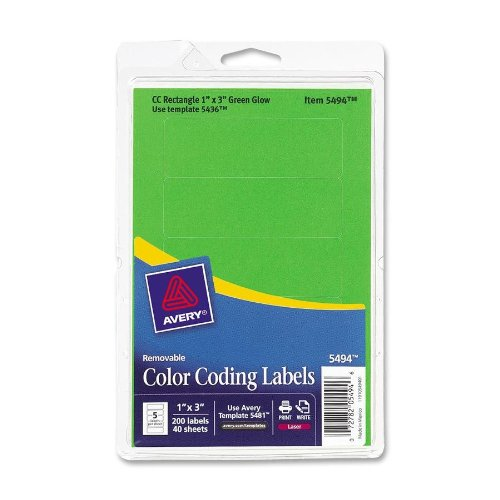 Avery Dennison 05494 Removable Rectangle Labels, 1 in.x3 in., 200/PK, Green Neon
