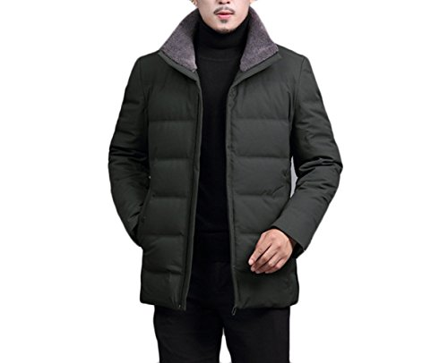 Collar Jacket Winter Armygreen Fur Coat Down Casual New Men Warm Zipper Middle aged a8gfZqf