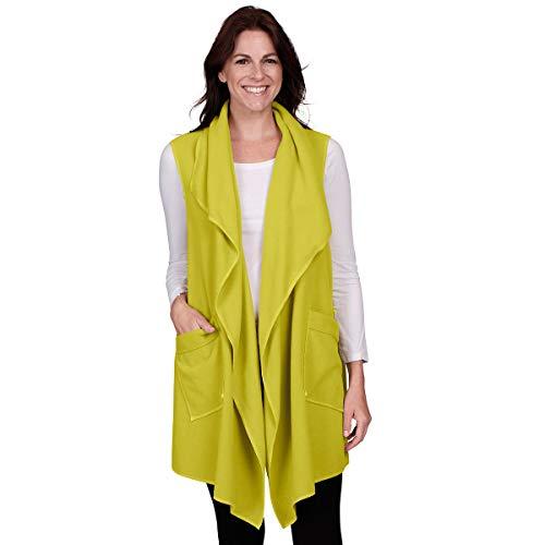 1 Vest Fleece Womens - Le Moda Women's Pocketed Open Front Fleece Vest Cardigan (ONE Size, Lime)