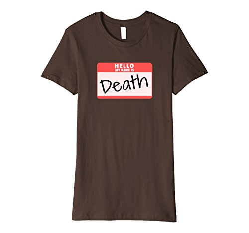 Womens Hello My Name is Death Halloween Reaper Costume Premium Tee Small Brown