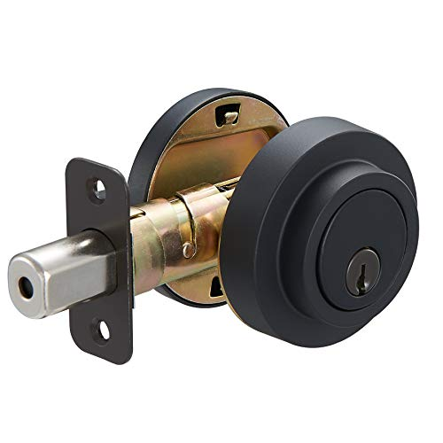 AmazonBasics Contemporary Round Deadbolt – Single Cylinder – Matte Black