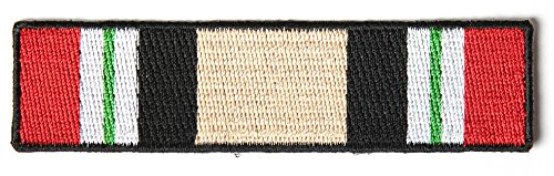 (OPERATION IRAQI FREEDOM OIF CAMPAIGN SERVICE RIBBON PATCH - Color - Veteran Owned Business.)