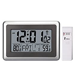 EWTTO 2138 RCC Large Display Digital Wall Desk Alarm Clock with Date Calendar Outdoor/Indoor Temperature (With Outdoor Sensor)