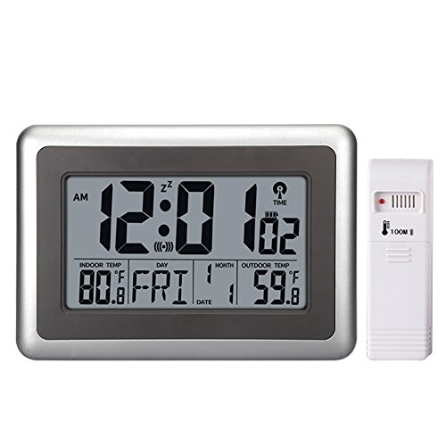 UMEXUS Atomic Wall Desk Clock Large Display with Indoor Outdoor Temperature Date Calendar Digital Alarm Clock Battery Operated for Kitchen Bedroom ()