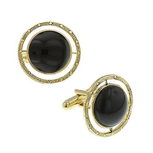 1928 Mens Black Onyx Round Cufflinks (Gold-Tone)