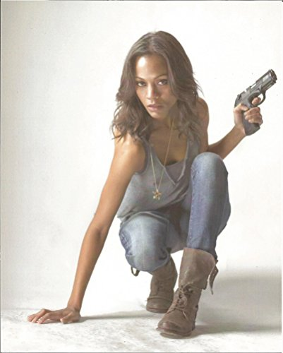 Zoe Saldana Guardians Of The Galaxy Costume (Zoe Saldana in grey tank top & jeans crouching - 8 x 10 inch Costume Test Photo 004 sitting)