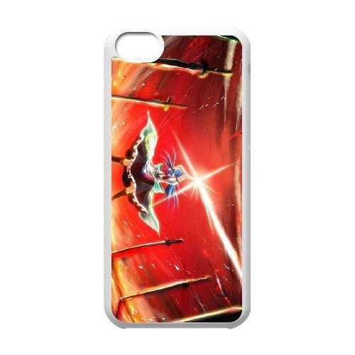 Sword Girls coque iPhone 5c cellulaire cas coque de téléphone cas blanche couverture de téléphone portable EEECBCAAN08254