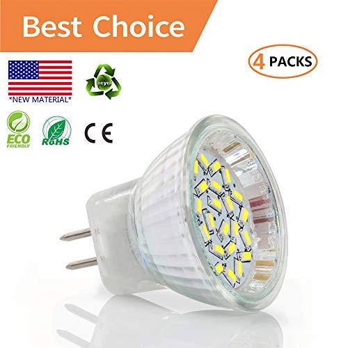 (2W LED MR11 Light Bulbs, AC/DC 12V GU4 Bi-Pin Base, 20w Halogen Replacement, Daylight White 6000K, LED Spot Light Bulb for Home Landscape Track Lighting(4 Packs))