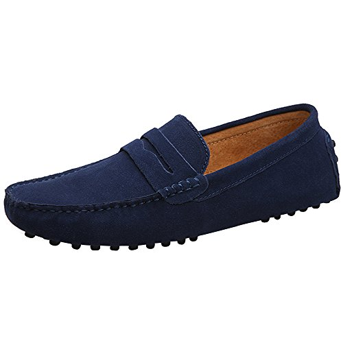[JIONS Mens Suede Leather Dress Shoes Slip On Penny Loafers Driving Moccasin Boat Shoes Flats Dark-Blue, 45 M EU / 10 D(M) US] (Italian Suede Penny Loafer)