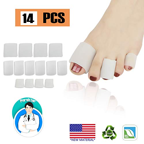 Gel Toe Caps Toe Protectors Open Toe Sleeves Tubes (14PCS), NEW MATERIAL, for Blisters, Corns, Hammer Toes, Toenails Loss, Friction Pain Relief and More.(4 BIG + 6 MIDDLE + 4 SMALL)