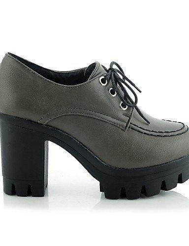 NJX/ hug Damenschuhe-High Heels-Büro / Lässig-Kunstleder-Blockabsatz-Absätze / Plateau-Schwarz / Grau gray-us10.5 / eu42 / uk8.5 / cn43