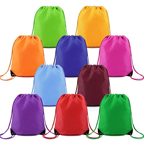 Drawstring Backpacks Bags Bulk 10 Pack Custom String Backpacks Bags Ripstop Polyester Personalized Cinch Bags for Gym Sports Traveling -