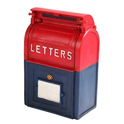 PTC 6.25 Inch Resin Mailbox Savings Piggy/Coin/Money Bank, Red and Blue: Toys & Games