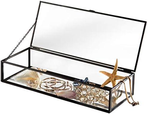 Caja de metal con espejo y tapa con bisagras, estilo vintage y cristal transparente: Amazon.es: Hogar
