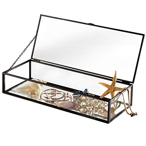 (Vintage Style Black Metal & Clear Glass Mirrored Shadow Box Jewelry Display Case w/Hinged Top Lid)