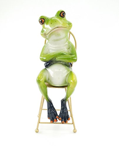 (FunnyFrogs Creative and Abstract Frog Sculptures,Frog Figures Figurines Sitting on Chair (The Thinker Statue))