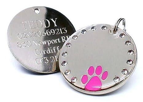 Personalizzato 30mm rotondo cristallo e rosa zampa cane animale
