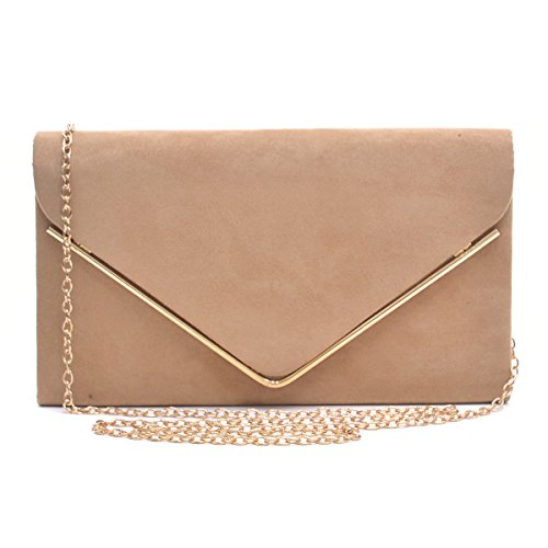 Dasein Ladies' Velvet Evening Clutch Handbag Formal Party Clutch For Women With Chain Strap (Camel) by Dasein