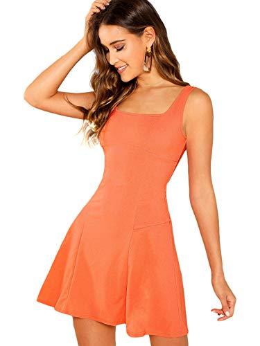 Floerns Women's Casual Sleeveless Summer Flared Tank Party Mini A-line Skater Dress Orange L ()