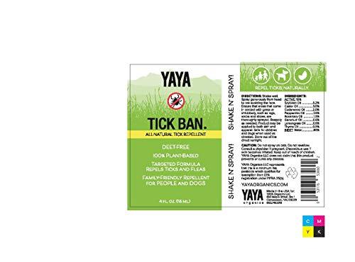 TICK BAN Yaya Organics All Natural Extra Strength Tick Repellent DEET Free - 4 Ounce Spray Bottle