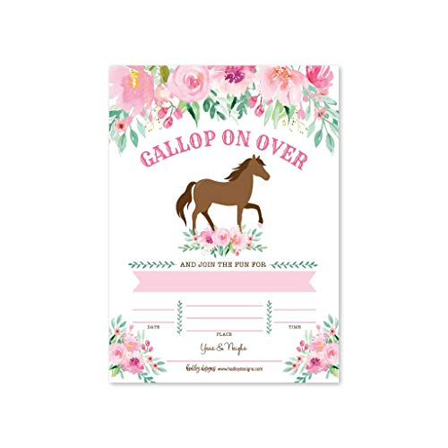 Horse Party Invitations (25 Floral Pony Birthday Party Invitation, Horse Farm Barn Little Girl Invite, Cowgirl Western Rodeo Kids Themed Bday Supply Idea, Spirit Animal Watercolor Printed or Fill in The Blank)