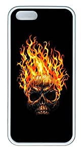 iPhone 5 5S Case Skull On Fire TPU Custom iPhone 5 5S Case Cover White