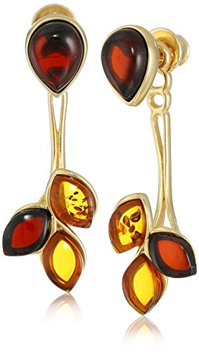 Gold Plated Sterling Silver Multicolor Amber Leaf BackToFront Drop Earrings