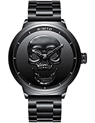 GIMTO Creative 3D Skull Mens Watch Cool Stainless Steel Big Dial Vintage Boy Quartz Military Wristwatch (Black...