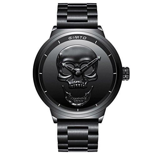 Amazon.com: GIMTO Creative 3D Skull Mens Watch Cool Stainless Steel Big Dial Vintage Boy Quartz Military Wristwatch (Black 3D skull): Health & Personal ...