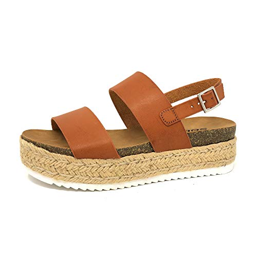 SODA Kazoo Top Shoe Women's Open Toe Ankle Strap Espadrille Sandal (Tan Pu, 11)