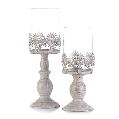 Heart Shaped Pillar Candle - 2 Pcs/Set Heart-Shaped Wedding Party Flower Rack Ornament, Metal Pillar Candle Stand, Wedding Centerpieces for Reception Tables Elegant (Size (S+L))