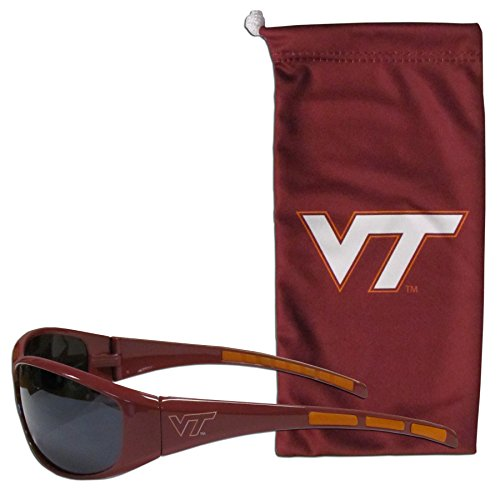 NCAA Virginia Tech Hokies Adult Sunglass and Bag Set, - Virginia Tech Sunglasses