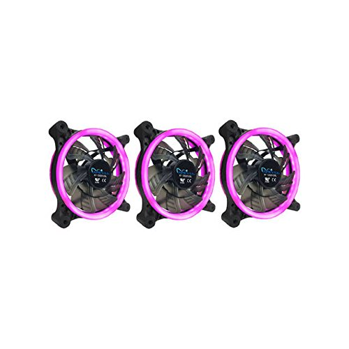 APEVIA 312L-CPK 120mm Silent Dual Rings Pink LED Fan with 32 x LEDs & 8 x...