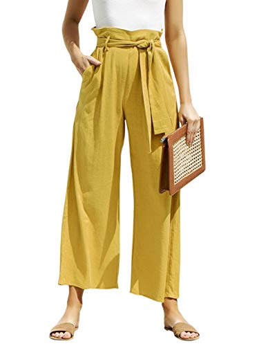 Season 4 Women's Wide Leg High Waist Capri Pants Belted Solid Loose Long Trousers Bottoms Yellow,S