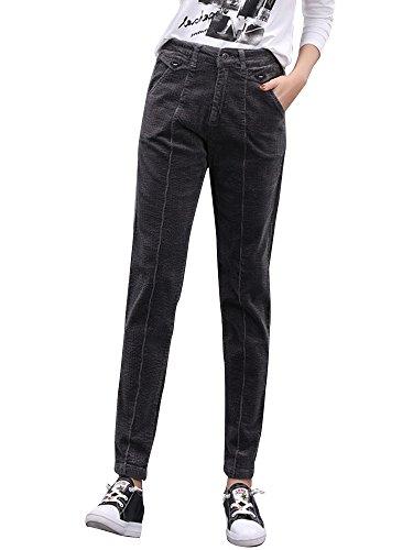 Gooket Women's Stretch Corduroy Skinny Ankle Pants Slim Pencil Pants Dark Grey Tag 33-US 14
