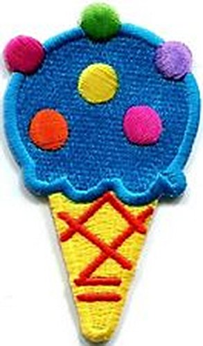 Spinner Ice cream cone 70s retro fun dessert sweets kids applique iron-on patch #381 Better Bag Cloth Tee Shirt (Cone Spinner Cream Ice)