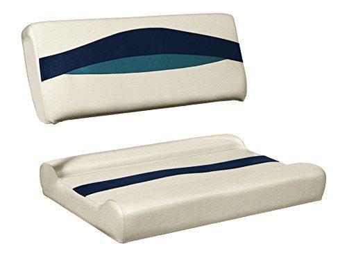Wise Premier Series Pontoon Flip-Flop Seat Cushion, Platinum/Cobalt Blue/Navy by Wise