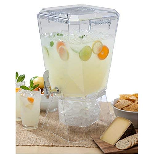 CreativeWare BEV17CLR Crown Beverage Dispenser with Base and Name Clip, 3.5 gallon, Clear