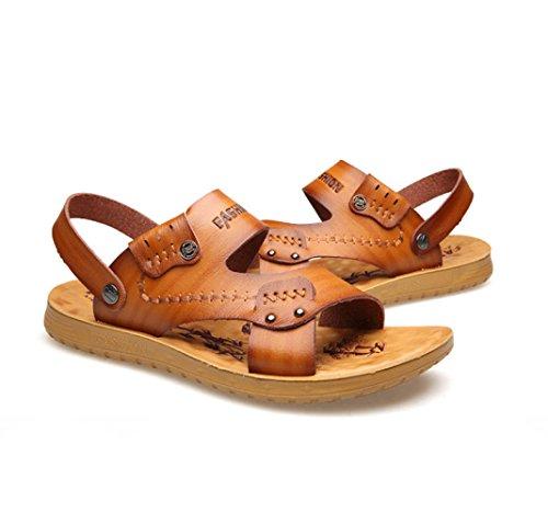 Pantofole Yellow Traspirante Pelle da Uomo Morbida da Sandali Uomo Spiaggia Estate Scarpe PIBwXxn
