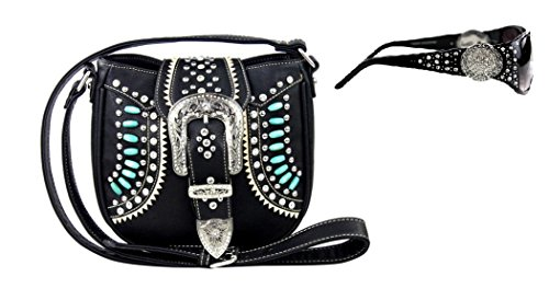 Montana West Beaded Aztec Messenger Bag Purse Bundle with Sunglasses (BLACK) Black Glass Beaded Purse