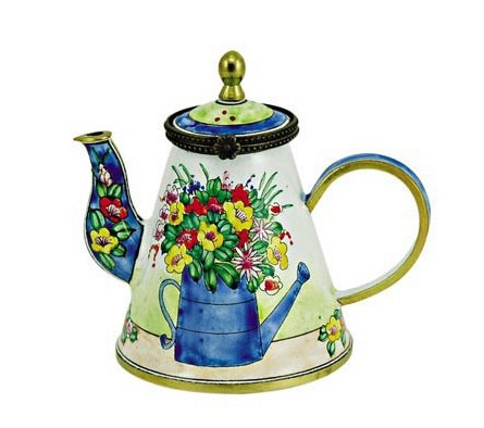 Kelvin Chen Enameled Miniature Tea Pot - Flowers in Watering Can