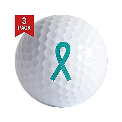 CafePress - Teal Ribbon - Golf Balls (3-Pack), Unique Printed Golf Balls