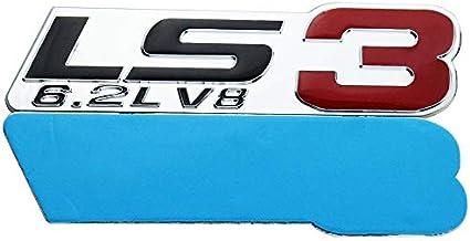 Chrome Red 2x LS3 6.2L V8 Emblem 3D Engine Emblems Auto Badge Nameplate Compatible for Chevy Corvette Camaro