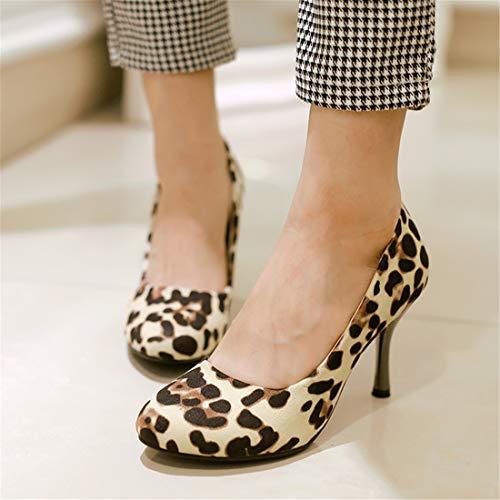Slip léopard Chaussures Vitalo élégant Donna Couleur Beige Decolletas Haut Pointy Avec Talon 0aAIqI6x