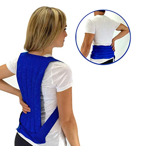 Nature Creation- Spine & Back Support Heating Pad, Stress & Sore Muscles Relief - Reusable Herbal Hot and Cold (Blue Marble)