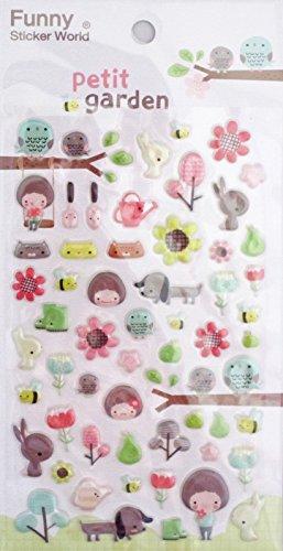 Funny Sticker World Petit Garden Puffy Sticker Sheet~KAWAII!! (Funny Sticker World)