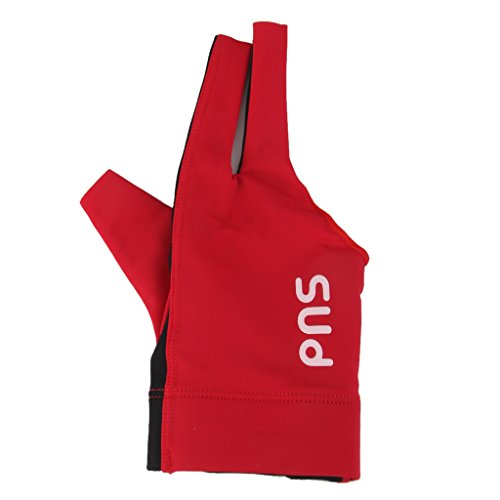 Spandex-Profi-Spieler Snooker-Billard-Queue-Handschuh Der Rechten Hand Drei Finger Rot